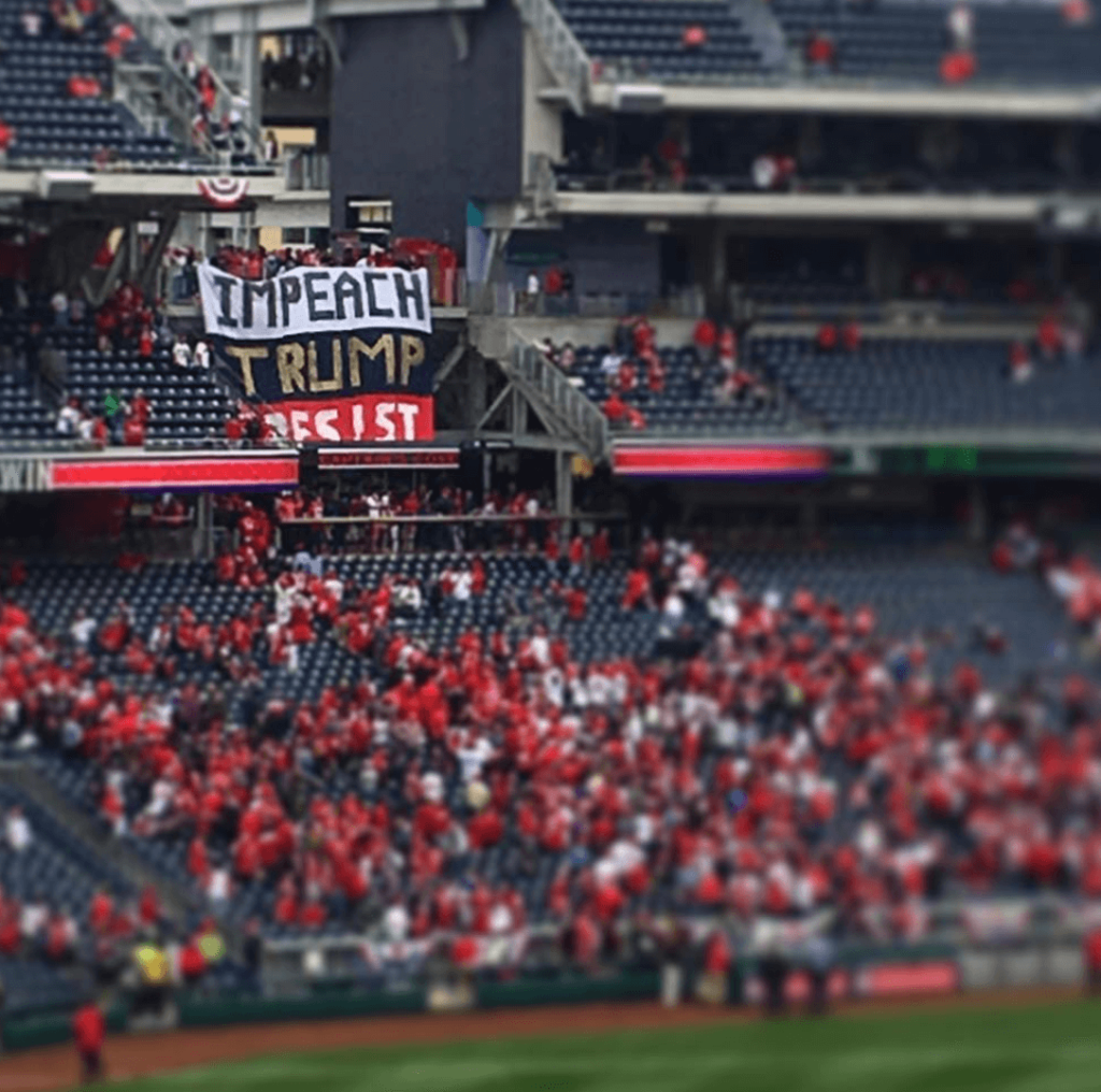 """Impeach Trump"" Banner Drop at Nationals Stadium on Opening Day"